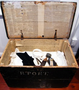 R J Port's travel trunk.  The newspaper lining dates from 1857.